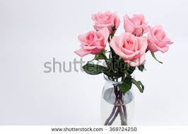 Vase With Roses One Red Roses Flower Arrangement Leaves Stock Photo 369724295