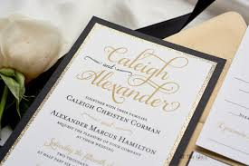 black and gold wedding invitations caleigh formal wedding invitation with glitter all that