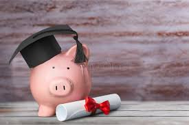 graduation piggy bank piggy bank with graduation hat and diploma stock photo image of