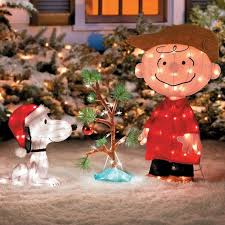 Snoopy Outdoor Christmas Decorations Christmas Charlie Brown Snoopy Outdoor Lighted Tree Yard Art Lawn