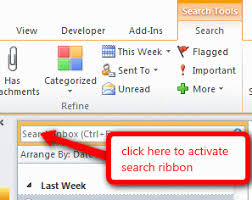 tip 919 search tools ribbon is missing outlook tips