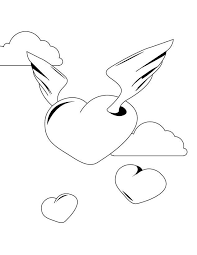flying heart wings coloring pages coloringstar