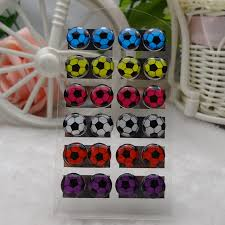 plastic stud earrings personality women plastic stud earrings football enamel stud