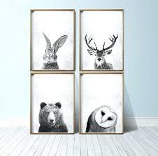 animal wall decor for nursery printable black and white nursery