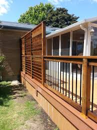 trex and wood privacy wall on trex deck in lake county built by