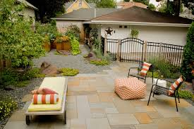 outdoor pouf in patio contemporary with rock patio next to raised
