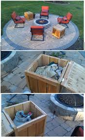 Glass Firepit Diy Firepit Storage Tables One Holds The Propane Gas Tank For