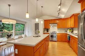 what color quartz goes with oak cabinets and stainless appliances honey shaker parawood pius kitchen bath honey oak