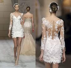 short beach wedding dresses 2016 zuhair murad lace with sheer