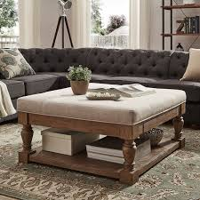 lennon baluster pine storage tufted cocktail ottoman by inspire q