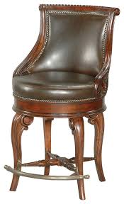 tatum swivel counter stool dark leather traditional bar