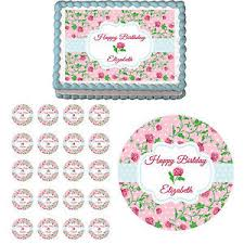 shabby chic vintage flower mothers day edible birthday cake
