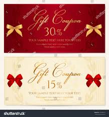 voucher template border red bow ribbons stock vector 127285910