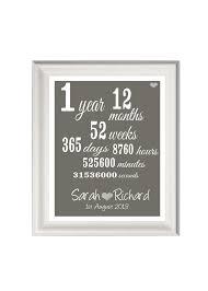 1st wedding anniversary ideas personalised 1st anniversary print anniversary gift