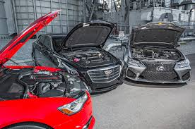 sporty lexus 4 door comparison audi s6 4 0t quattro vs cadillac cts v sport vs lexus gs f
