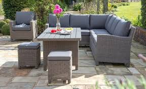 Rattan Table L Impressive Tiled Patio Decorating Ideas With L Shaped Wicker