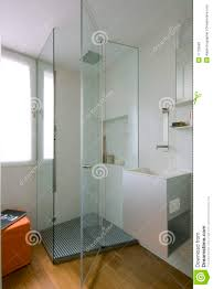 shower cubicle with glass partition stock photography image