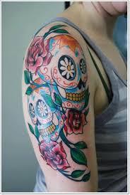colors sugar skull on half sleeve tattooimages biz