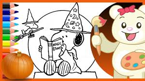 snoopy woodstock halloween wizards charlie brown coloring