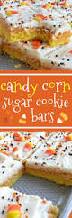candy corn sugar cookie bars are the best way to celebrate