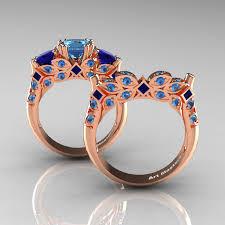 blue rose rings images Classic 14k rose gold three stone princess blue topaz blue jpg
