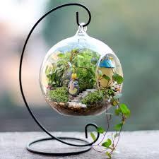 5 hanging crystal flower vase set planter terrarium container