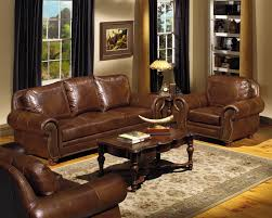 Furniture Design Sofa Classic White Painted Living Room Wall With L Shaped Dark Brown Leather