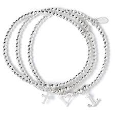 silver bracelet with cross charm images Sterling silver rice noodle ball bead bracelet jpg