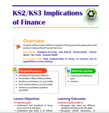 implications of finance teaching resource for key stage 2 and 3
