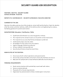 Security Guard Job Description For Resume by Civilian Security Officer Cover Letter