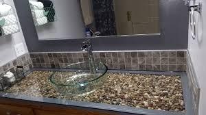 Glass Bathroom Vanity Pebble And Glass Bathroom Vanity Hometalk