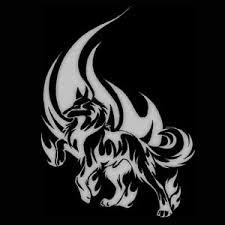 unicorn flame tattoo design over black background photos