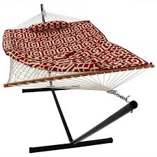 sunnydaze royal red cotton hammock with 12 foot steel stand