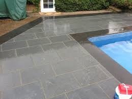 grey flamed granite copings and paving