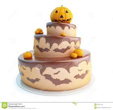 3d halloween background halloween cake 3d on a white background stock illustration image