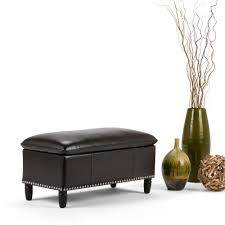 simpli home avalon tanners brown storage bench f 18a the home depot