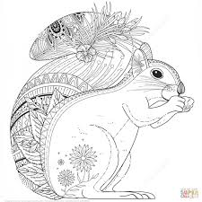 squirrel zentangle coloring printable pages lovely animal