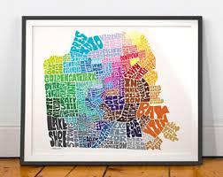 san francisco map painting san francisco map print san francisco print san francisco