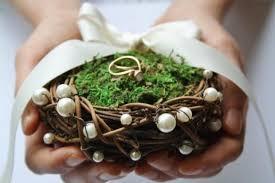 wedding ring holder ring bearer pillow rustic nest ring pillow rustic ring box rustic