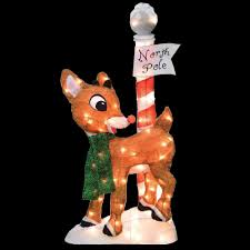 rudolph 32 led 2d pre lit yard art north pole 90308 thd