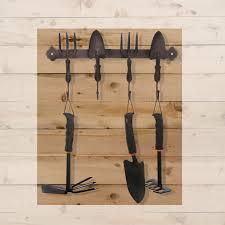 mygift brown rustic garden tool design 4 hook hanging coat rack