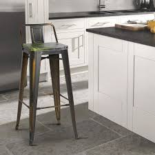 Metal Bar Stools With Wood Seat Antique Copper Metal Bar Stools With Multi Color Wooden Seat Set