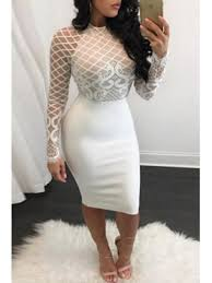 club dress mesh patchwork white knee length dress your club