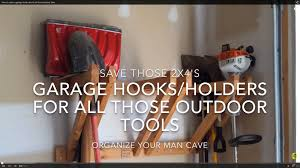 how to make a garage hook rack for all those outdoor tools