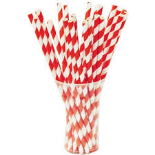 paper straws and white striped straws and white paper straws