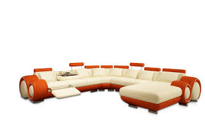 Reclining Sofa Chaise by Furniture Contemporary Two Tone Vinyl Chaise Sofa Which Is Having
