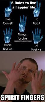 Spirit Fingers Meme - five finger rules for a happier life by recyclebin meme center