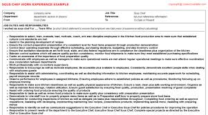 Sous Chef Resume Sample by Halal Sous Chef Cv Work Experience Samples