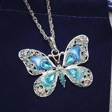 long butterfly necklace images Sparkling long butterfly necklace shopvalley jpg
