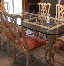 thomasville glass top dining table and six chairs ebth